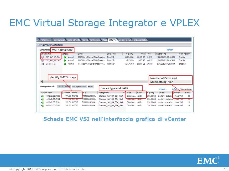 15© Copyright 2012 EMC Corporation. Tutti i diritti riservati. EMC Virtual Storage Integrator e VPLEX Scheda EMC VSI nell'interfaccia grafica di vCent