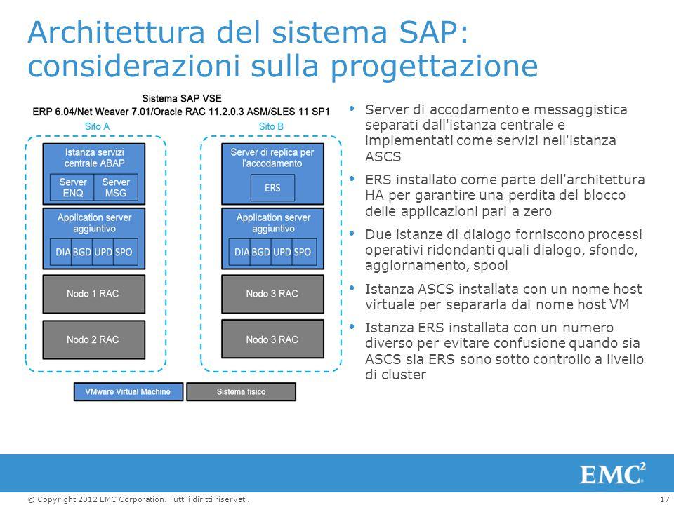 17© Copyright 2012 EMC Corporation. Tutti i diritti riservati. Architettura del sistema SAP: considerazioni sulla progettazione  Server di accodament