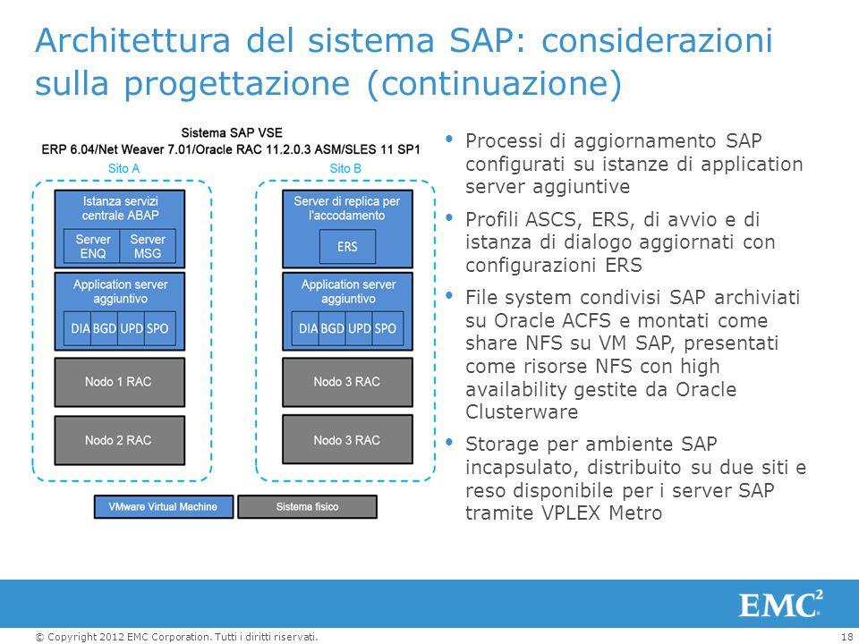 18© Copyright 2012 EMC Corporation. Tutti i diritti riservati. Architettura del sistema SAP: considerazioni sulla progettazione (continuazione)  Proc