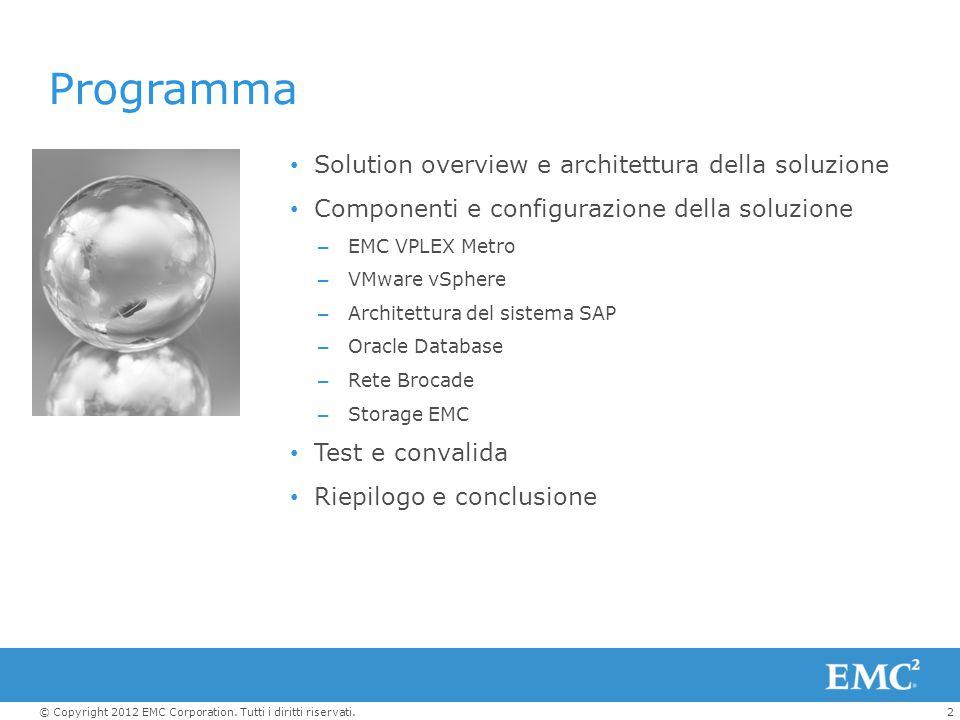 2© Copyright 2012 EMC Corporation. Tutti i diritti riservati. Solution overview e architettura della soluzione Componenti e configurazione della soluz