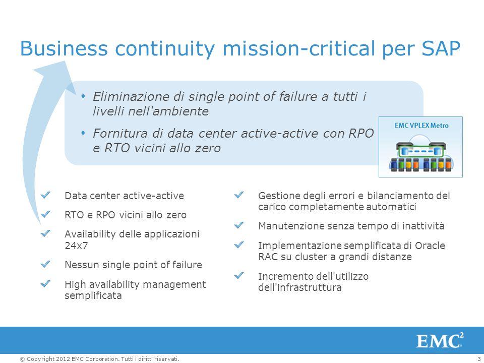 3© Copyright 2012 EMC Corporation. Tutti i diritti riservati. Business continuity mission-critical per SAP Eliminazione di single point of failure a t