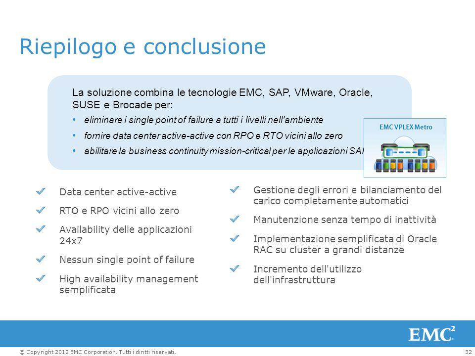 32© Copyright 2012 EMC Corporation. Tutti i diritti riservati. Riepilogo e conclusione La soluzione combina le tecnologie EMC, SAP, VMware, Oracle, SU