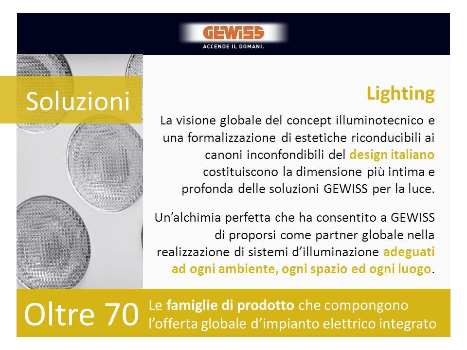 Lighting Le famiglie di prodotto che compongono l'offerta globale d'impianto elettrico integrato La visione globale del concept illuminotecnico e una