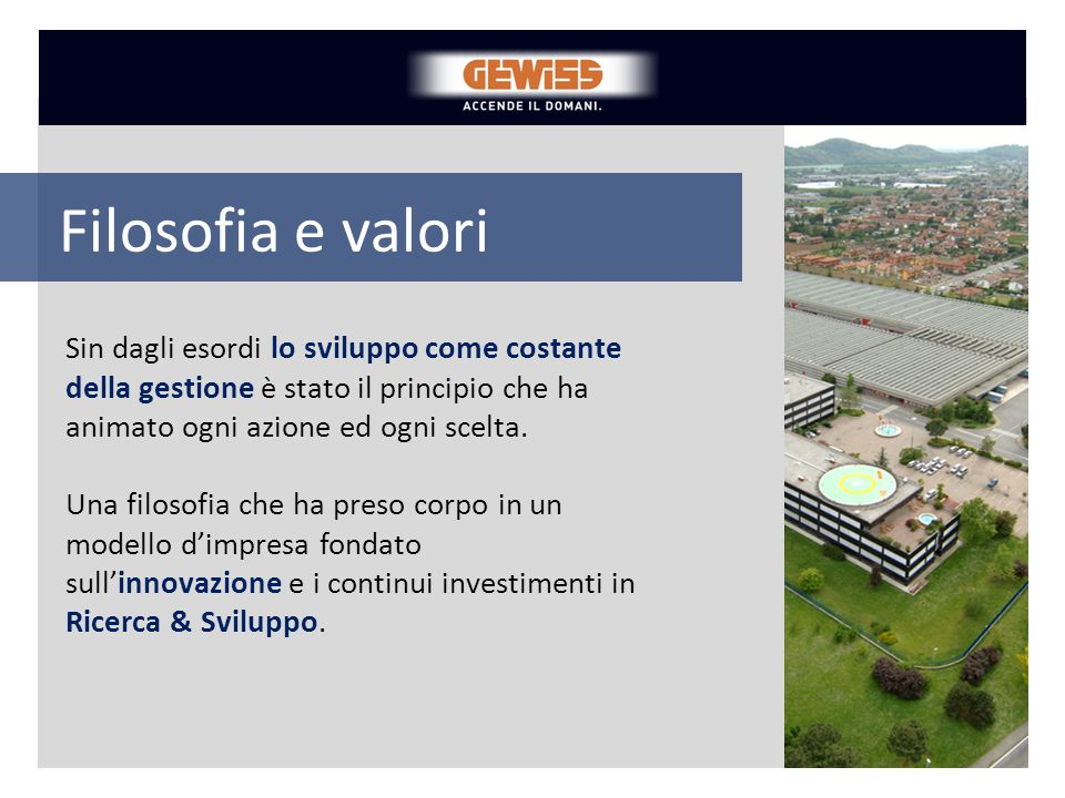 GEWISS si è affermata come interlocutore di riferimento del mercato elettrotecnico internazionale, con sedi, filiali e siti produttivi in oltre 80 paesi.