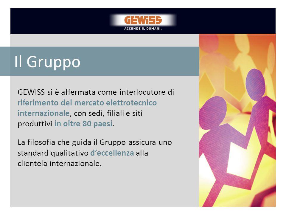 GEWISS si è affermata come interlocutore di riferimento del mercato elettrotecnico internazionale, con sedi, filiali e siti produttivi in oltre 80 pae