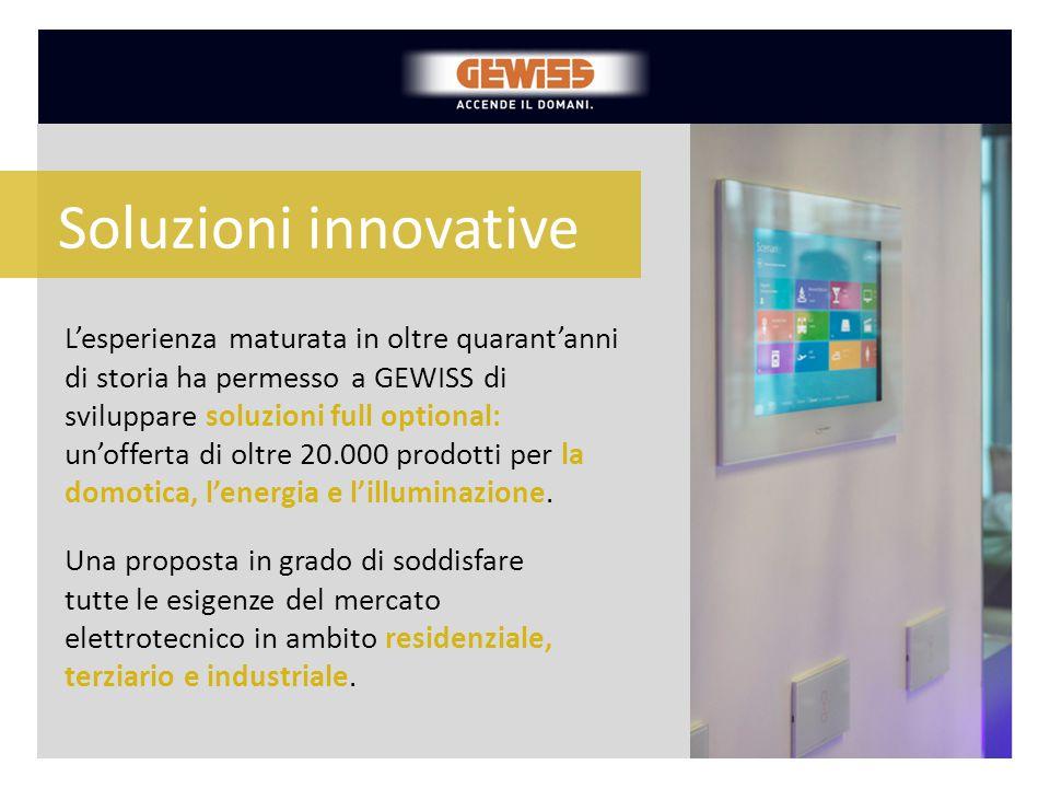 L'esperienza maturata in oltre quarant'anni di storia ha permesso a GEWISS di sviluppare soluzioni full optional: un'offerta di oltre 20.000 prodotti
