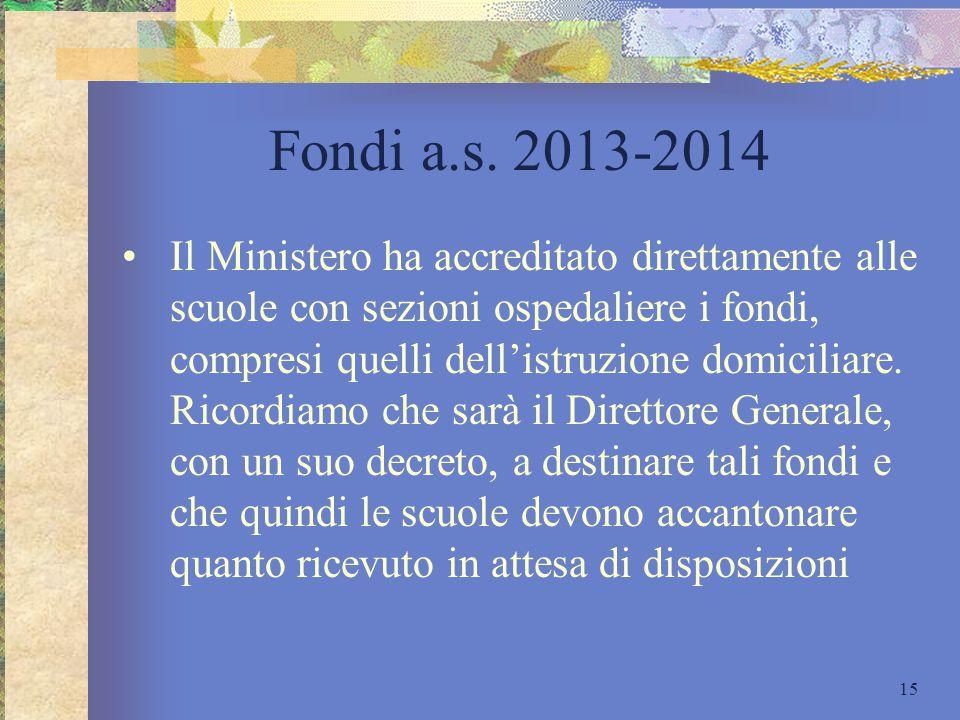 Fondi a.s. 2013-2014 Il Ministero ha accreditato direttamente alle scuole con sezioni ospedaliere i fondi, compresi quelli dell'istruzione domiciliare