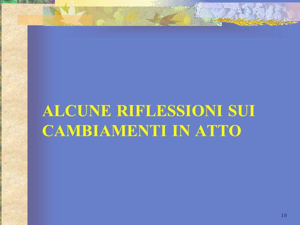 ALCUNE RIFLESSIONI SUI CAMBIAMENTI IN ATTO 16