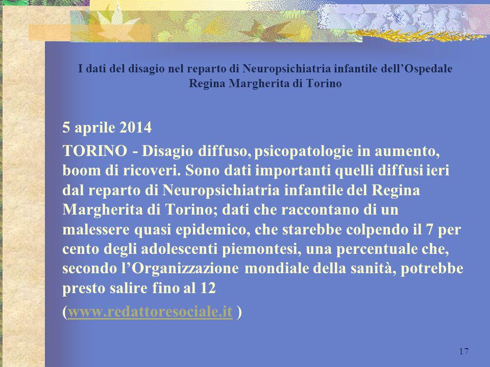 I dati del disagio nel reparto di Neuropsichiatria infantile dell'Ospedale Regina Margherita di Torino 5 aprile 2014 TORINO - Disagio diffuso, psicopa