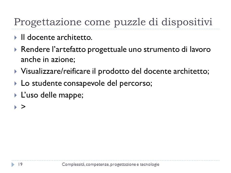 Progettazione come puzzle di dispositivi Complessità, competenze, progettazione e tecnologie19  Il docente architetto.  Rendere l'artefatto progettu