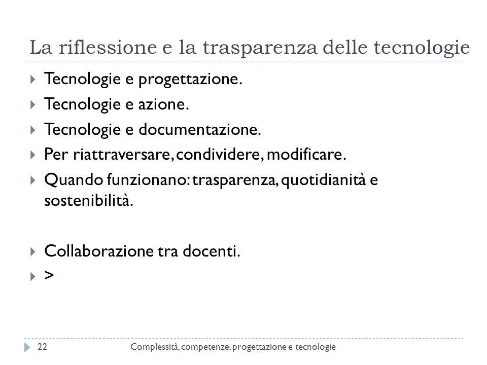 La riflessione e la trasparenza delle tecnologie Complessità, competenze, progettazione e tecnologie22  Tecnologie e progettazione.  Tecnologie e az