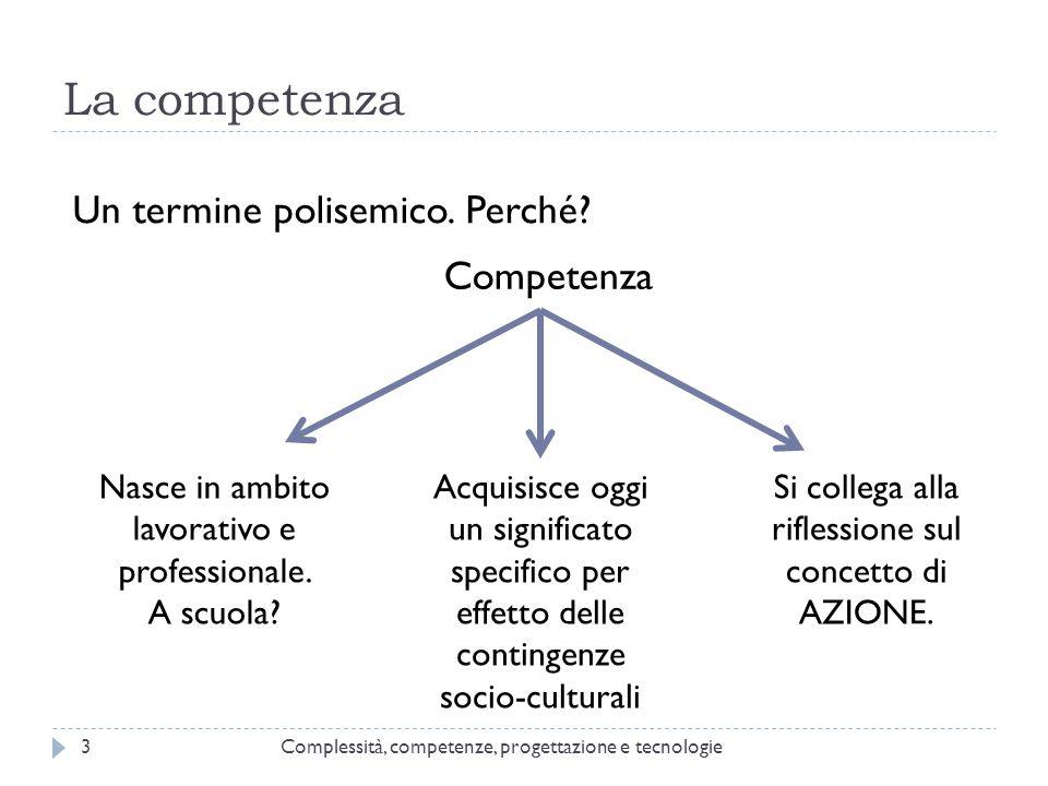 La competenza Complessità, competenze, progettazione e tecnologie3 Un termine polisemico. Perché? Competenza Si collega alla riflessione sul concetto