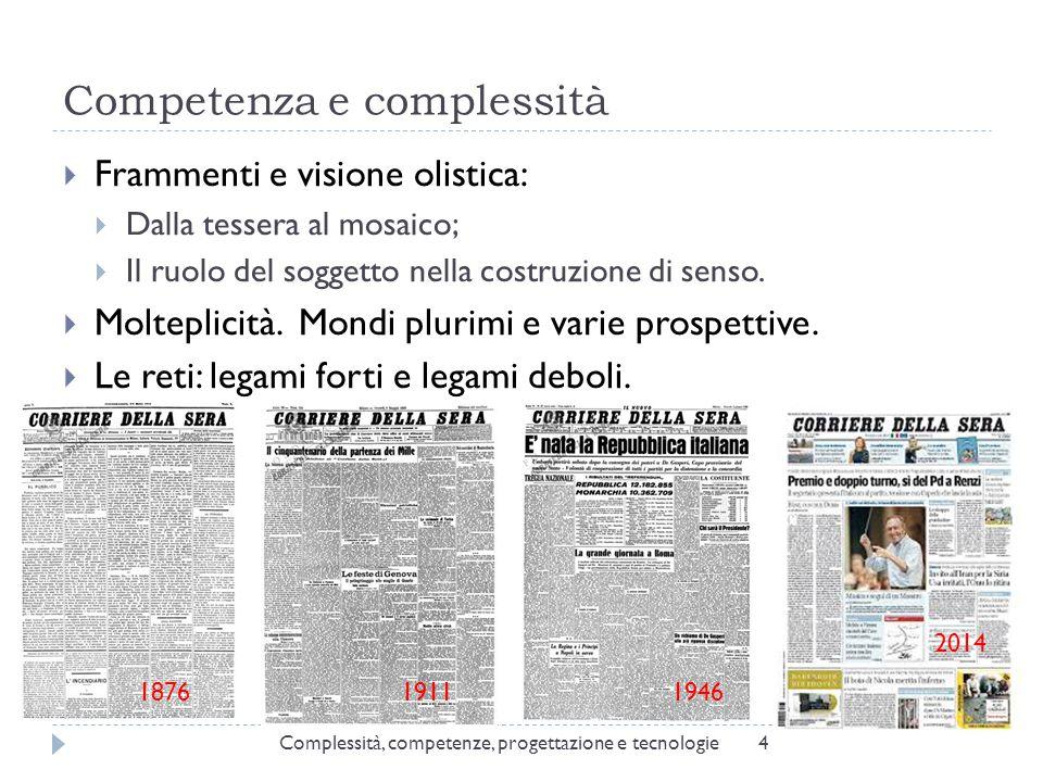 Competenza e complessità 4  Frammenti e visione olistica:  Dalla tessera al mosaico;  Il ruolo del soggetto nella costruzione di senso.  Molteplic