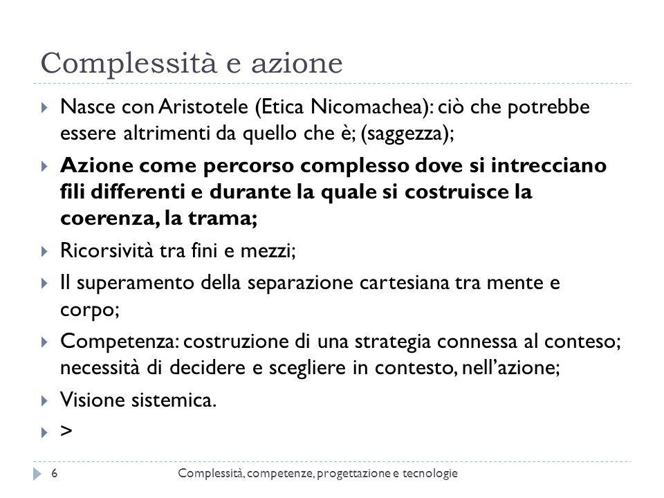 Complessità e azione Complessità, competenze, progettazione e tecnologie6  Nasce con Aristotele (Etica Nicomachea): ciò che potrebbe essere altriment