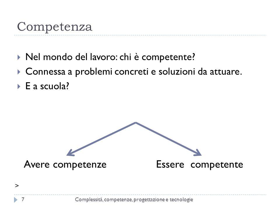 Competenza Complessità, competenze, progettazione e tecnologie7  Nel mondo del lavoro: chi è competente?  Connessa a problemi concreti e soluzioni d