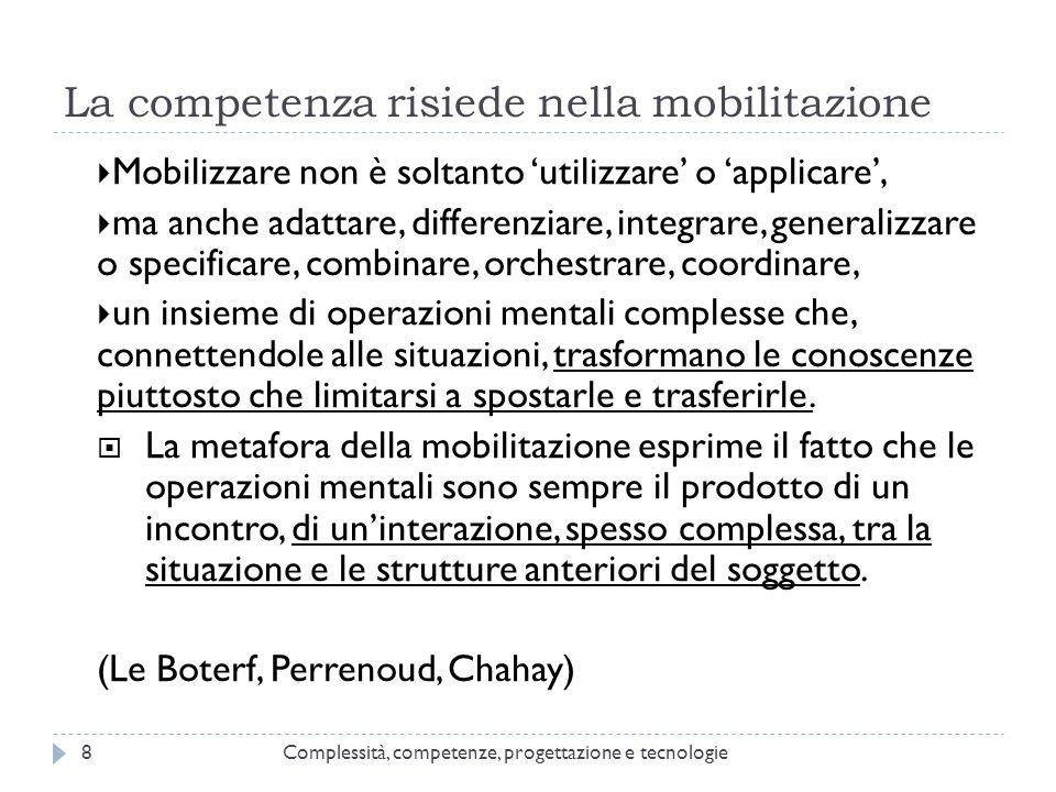 La competenza risiede nella mobilitazione  Mobilizzare non è soltanto 'utilizzare' o 'applicare',  ma anche adattare, differenziare, integrare, gene