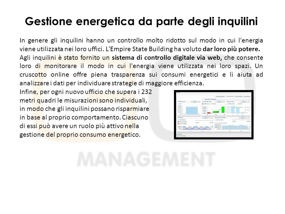 Gestione energetica da parte degli inquilini In genere gli inquilini hanno un controllo molto ridotto sul modo in cui l energia viene utilizzata nei loro uffici.