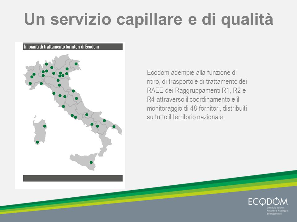 Un servizio capillare e di qualità Ecodom adempie alla funzione di ritiro, di trasporto e di trattamento dei RAEE dei Raggruppamenti R1, R2 e R4 attraverso il coordinamento e il monitoraggio di 48 fornitori, distribuiti su tutto il territorio nazionale.