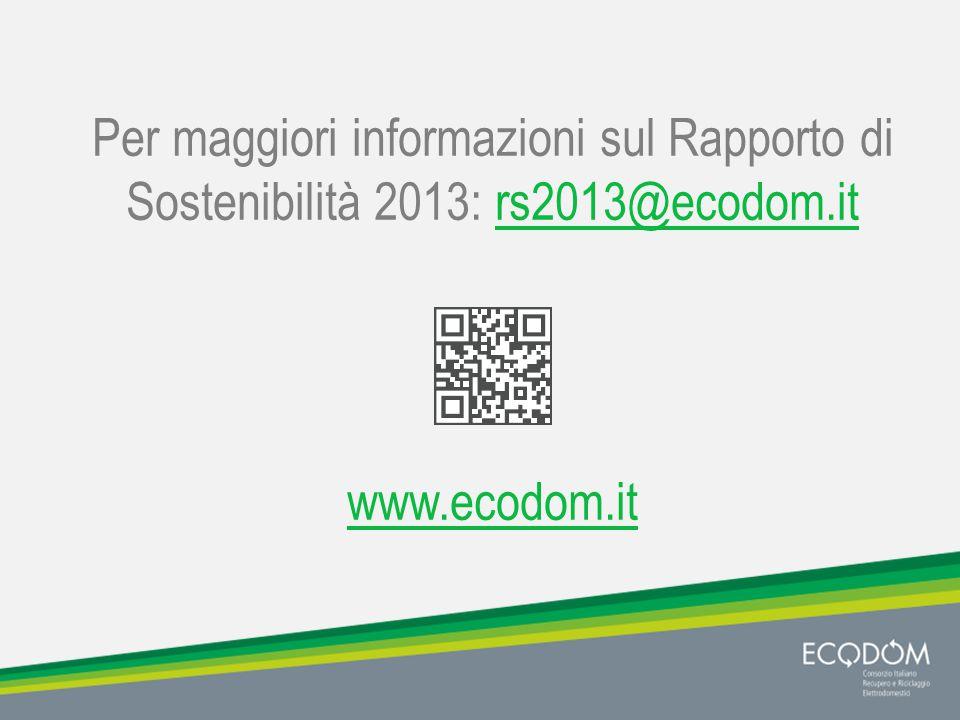 Per maggiori informazioni sul Rapporto di Sostenibilità 2013: rs2013@ecodom.itrs2013@ecodom.it www.ecodom.it