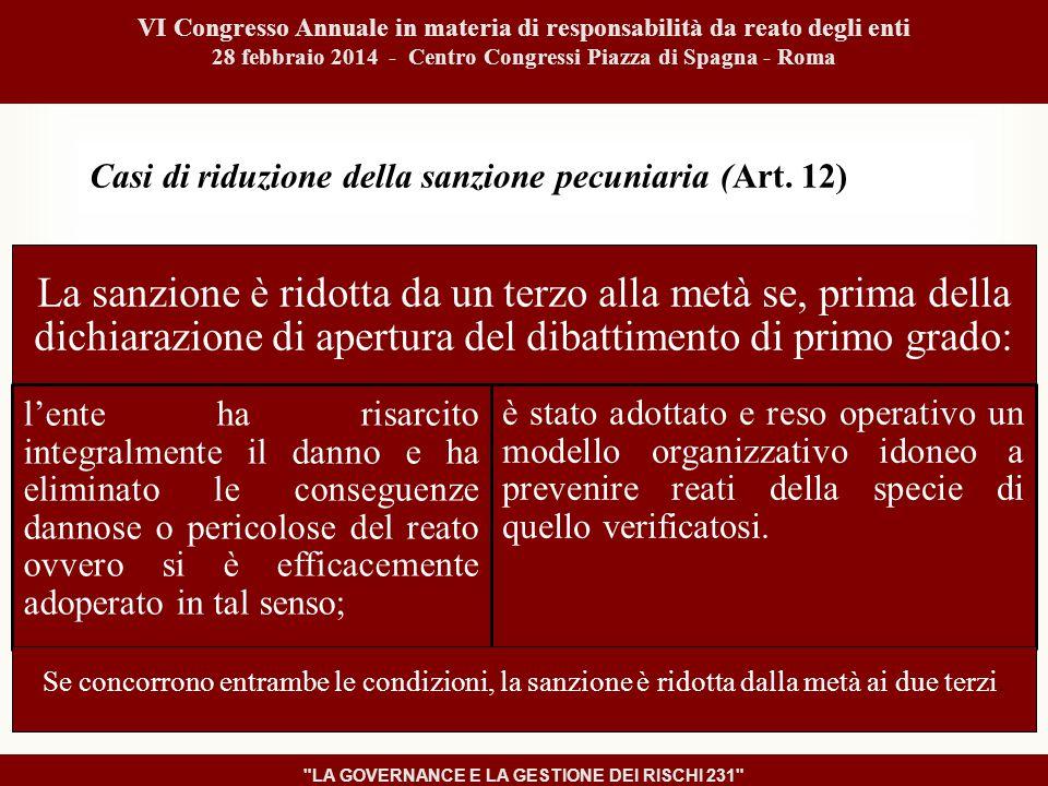 Casi di riduzione della sanzione pecuniaria (Art.