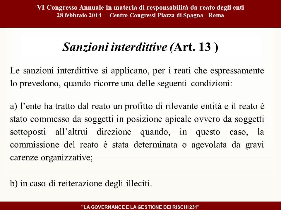 Sanzioni interdittive (Art.