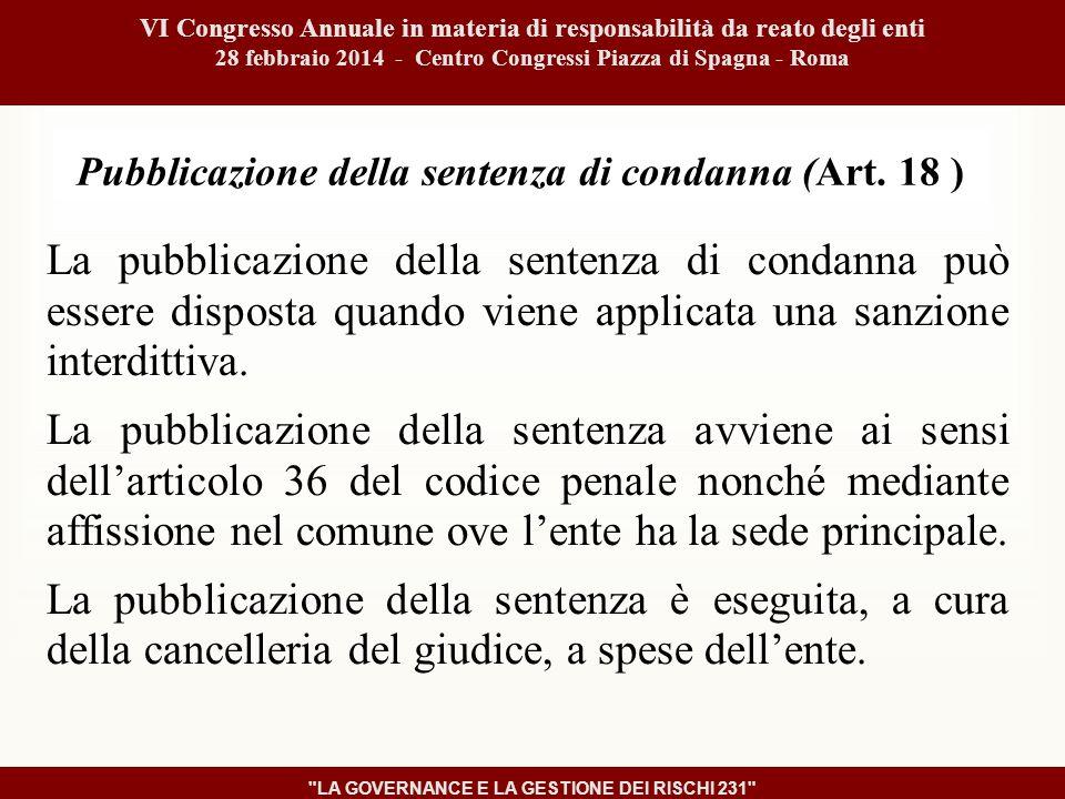 Pubblicazione della sentenza di condanna (Art.
