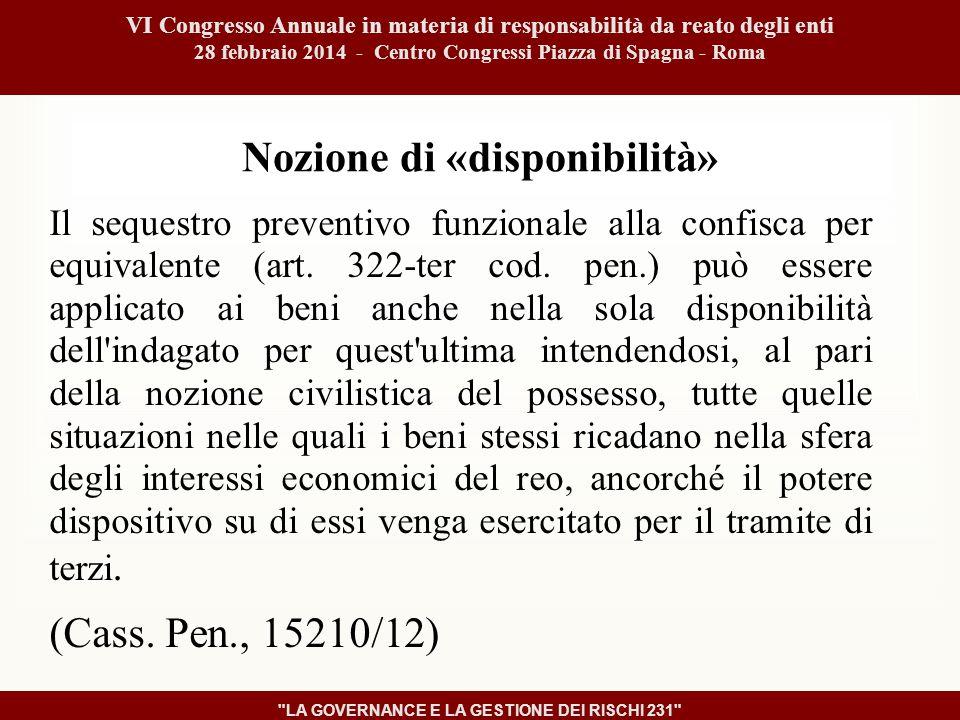 Nozione di «disponibilità» Il sequestro preventivo funzionale alla confisca per equivalente (art.