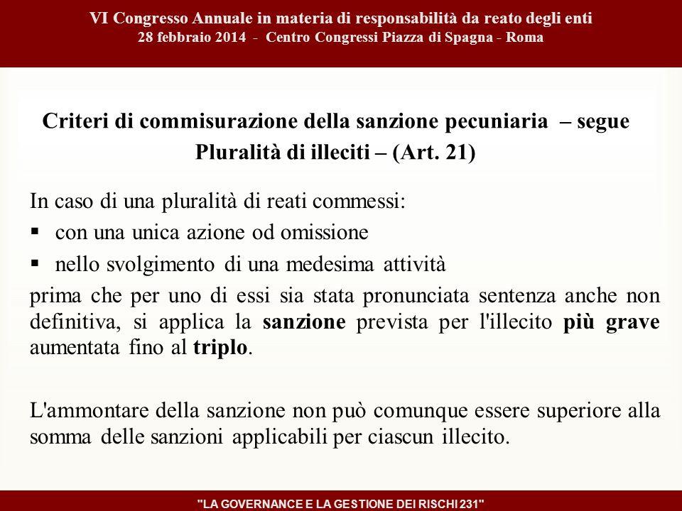 Criteri di commisurazione della sanzione pecuniaria – segue Pluralità di illeciti – (Art.