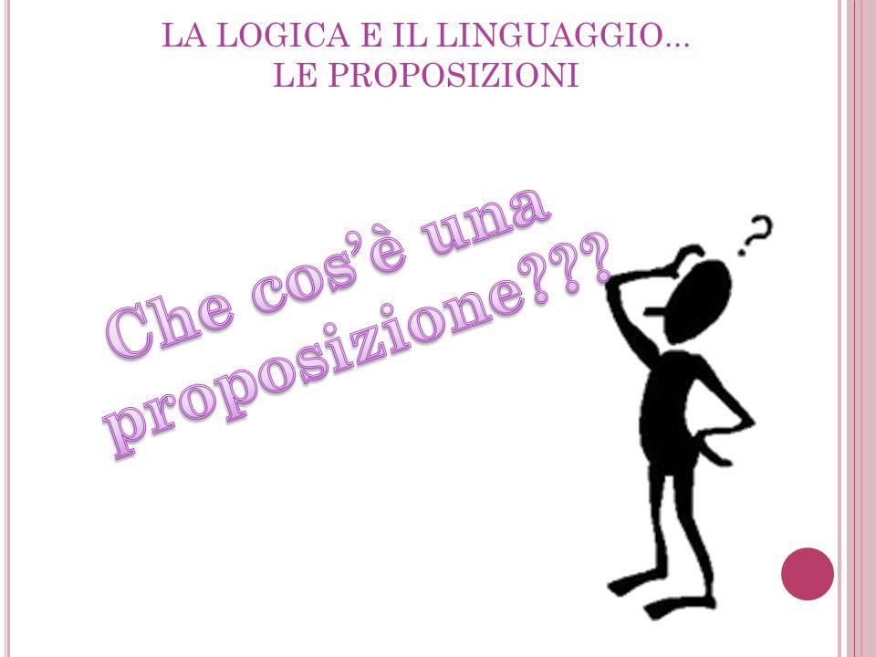 LA LOGICA E IL LINGUAGGIO... LE PROPOSIZIONI