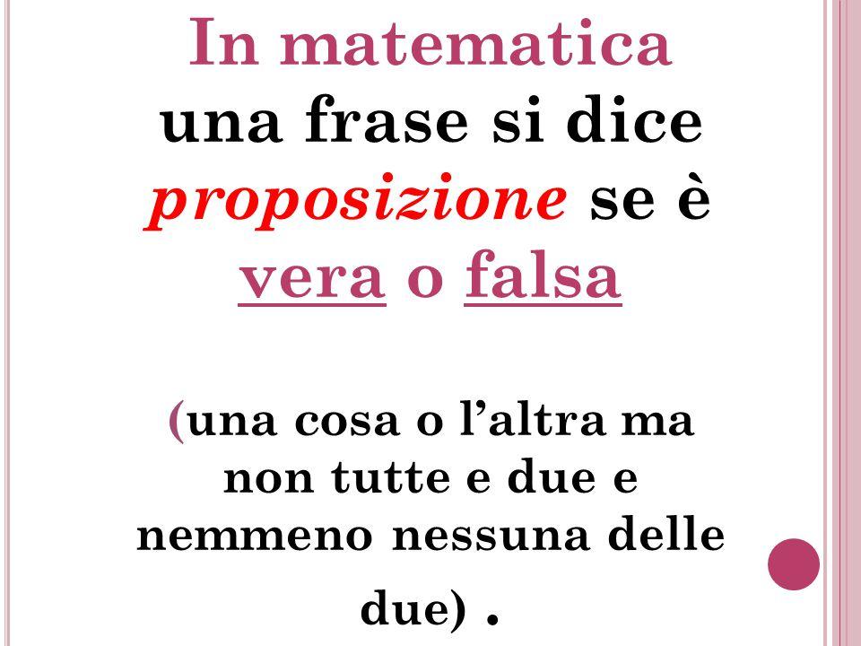 In matematica una frase si dice proposizione se è vera o falsa (una cosa o l'altra ma non tutte e due e nemmeno nessuna delle due).