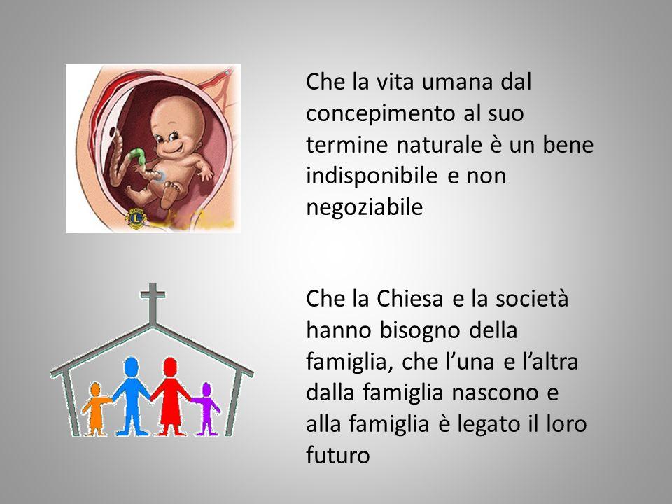 Che la vita umana dal concepimento al suo termine naturale è un bene indisponibile e non negoziabile Che la Chiesa e la società hanno bisogno della fa