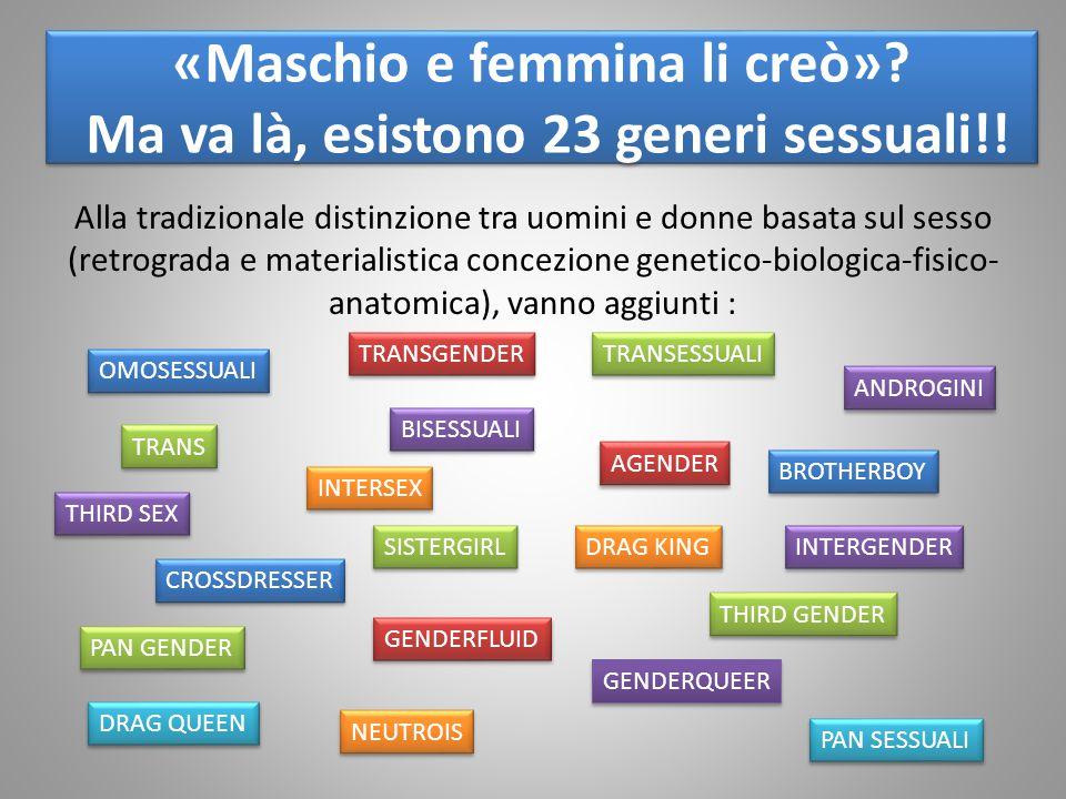 «Maschio e femmina li creò»? Ma va là, esistono 23 generi sessuali!! Alla tradizionale distinzione tra uomini e donne basata sul sesso (retrograda e m