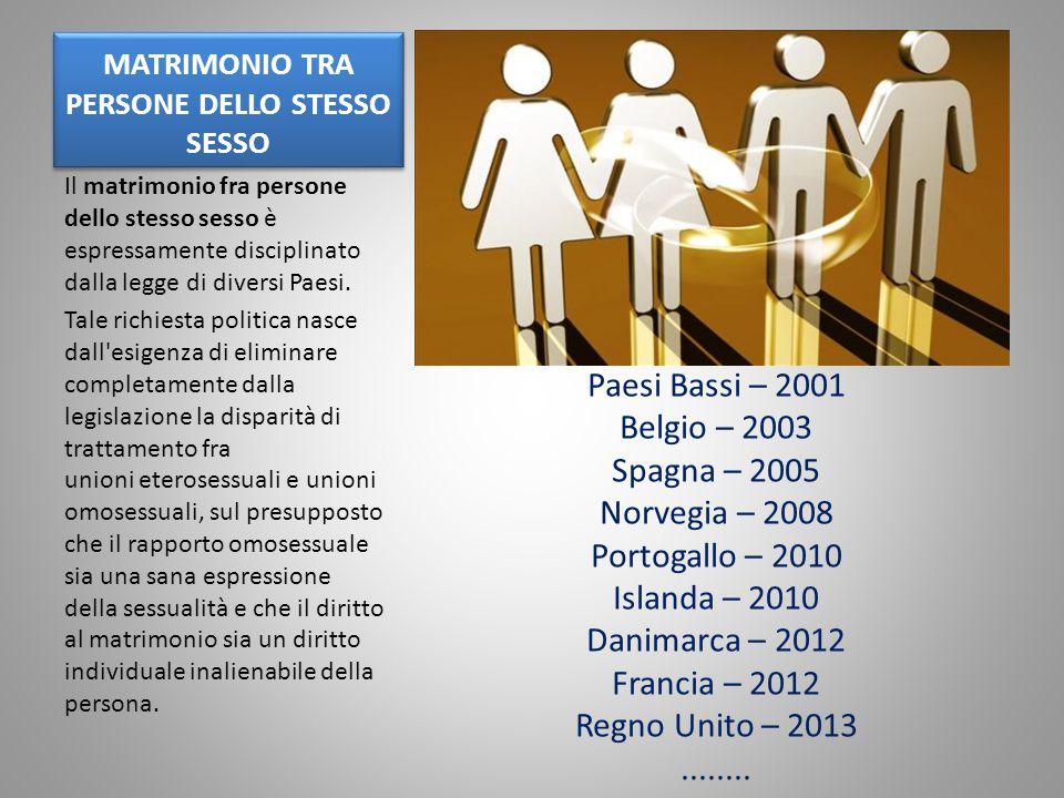 MATRIMONIO TRA PERSONE DELLO STESSO SESSO Il matrimonio fra persone dello stesso sesso è espressamente disciplinato dalla legge di diversi Paesi. Tale