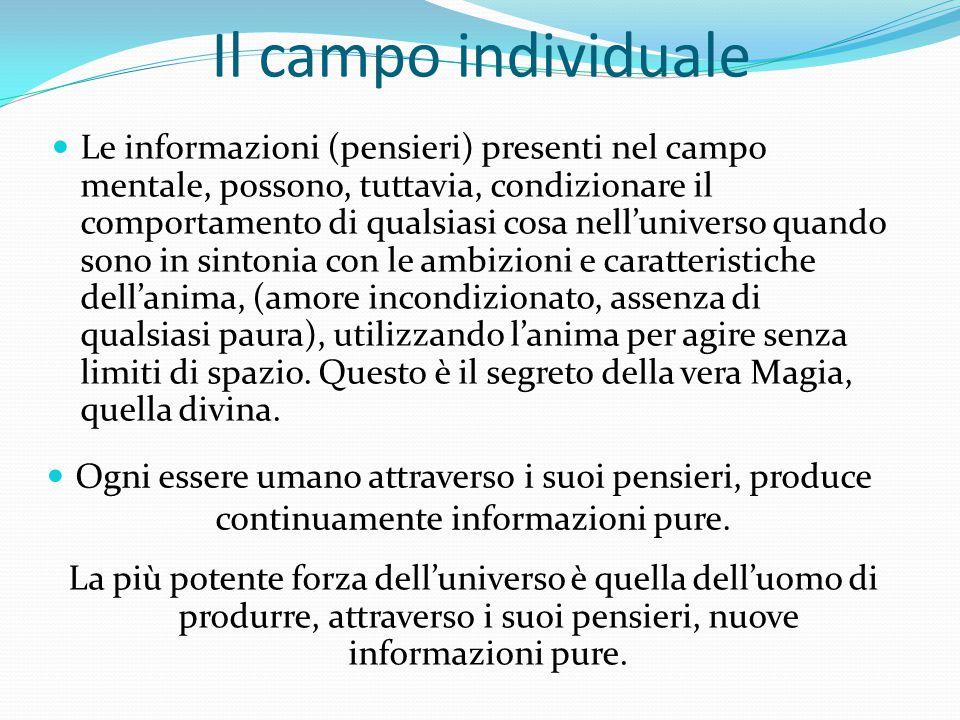 Il campo individuale Le informazioni (pensieri) presenti nel campo mentale, possono, tuttavia, condizionare il comportamento di qualsiasi cosa nell'un