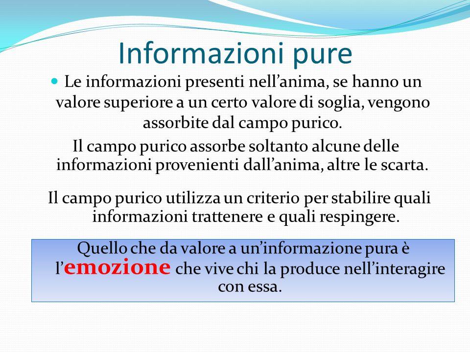 Informazioni pure Le informazioni presenti nell'anima, se hanno un valore superiore a un certo valore di soglia, vengono assorbite dal campo purico. I
