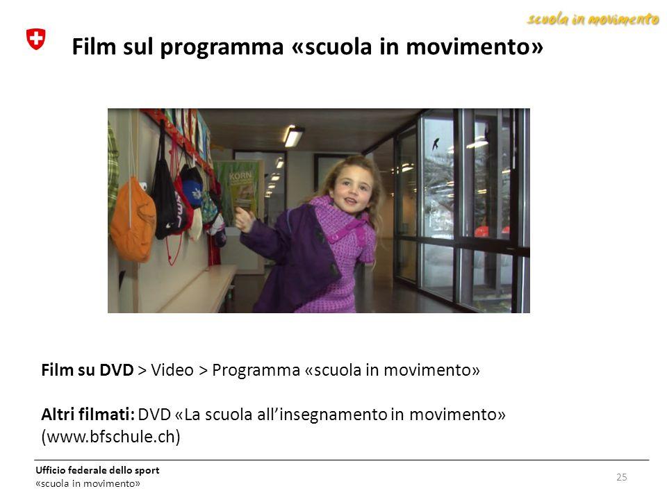Ufficio federale dello sport «scuola in movimento» 25 Film sul programma «scuola in movimento» Film su DVD > Video > Programma «scuola in movimento» A