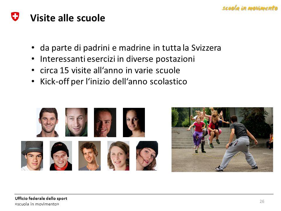Ufficio federale dello sport «scuola in movimento» da parte di padrini e madrine in tutta la Svizzera Interessanti esercizi in diverse postazioni circ