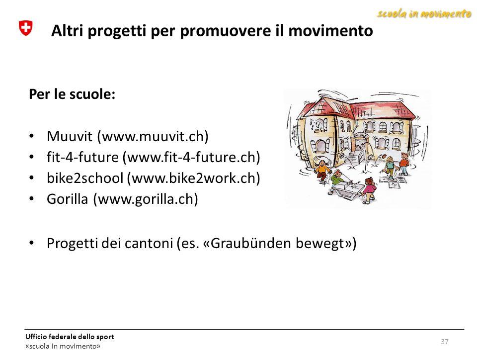 Ufficio federale dello sport «scuola in movimento» 37 Altri progetti per promuovere il movimento Per le scuole: Muuvit (www.muuvit.ch) fit-4-future (w