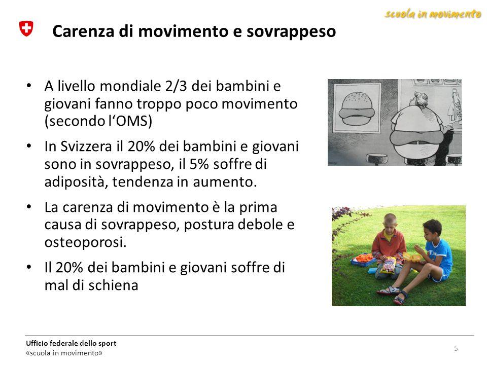 Ufficio federale dello sport «scuola in movimento» A livello mondiale 2/3 dei bambini e giovani fanno troppo poco movimento (secondo l'OMS) In Svizzer