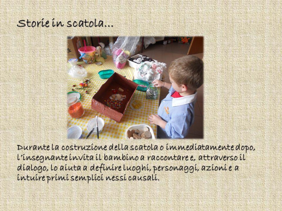 Storie in scatola… Durante la costruzione della scatola o immediatamente dopo, l'insegnante invita il bambino a raccontare e, attraverso il dialogo, l