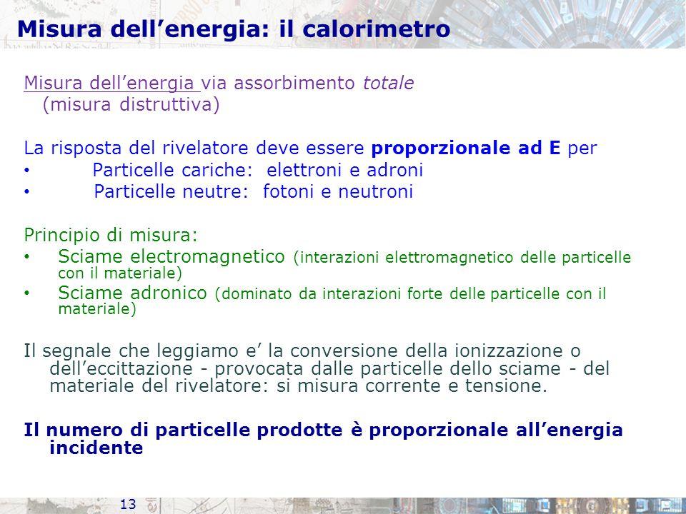 Misura dell'energia: il calorimetro Misura dell'energia via assorbimento totale (misura distruttiva) La risposta del rivelatore deve essere proporzionale ad E per Particelle cariche: elettroni e adroni Particelle neutre: fotoni e neutroni Principio di misura: Sciame electromagnetico (interazioni elettromagnetico delle particelle con il materiale) Sciame adronico (dominato da interazioni forte delle particelle con il materiale) Il segnale che leggiamo e' la conversione della ionizzazione o dell'eccittazione - provocata dalle particelle dello sciame - del materiale del rivelatore: si misura corrente e tensione.