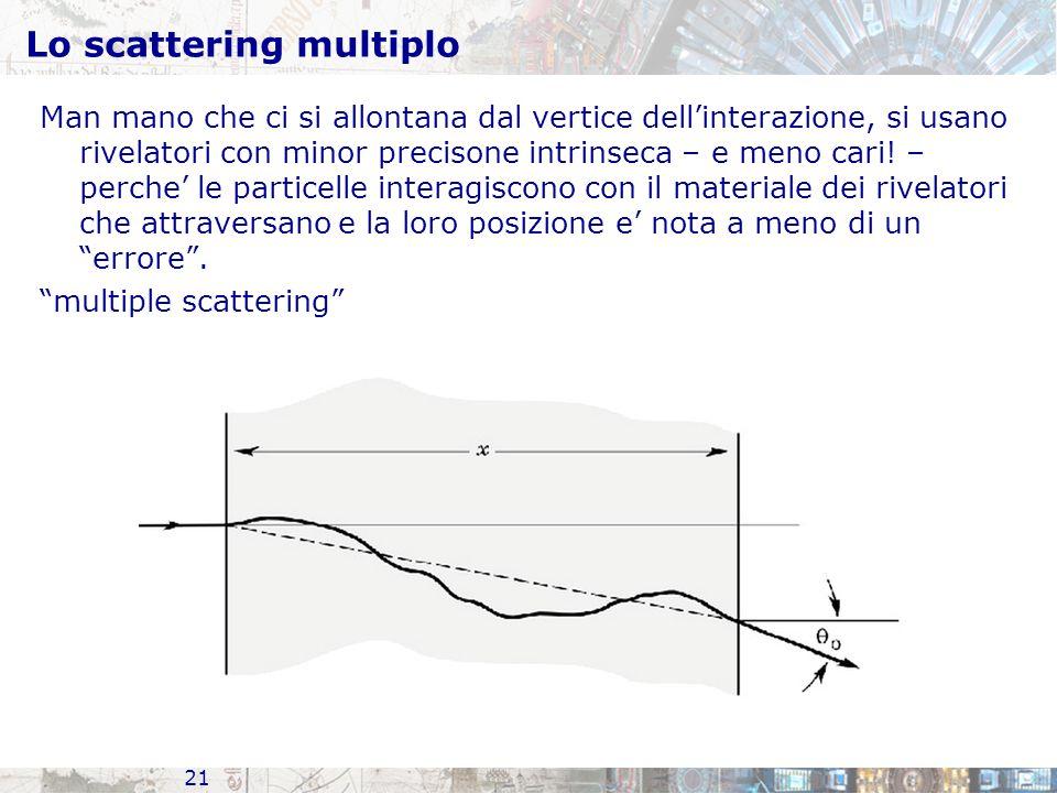 Lo scattering multiplo Man mano che ci si allontana dal vertice dell'interazione, si usano rivelatori con minor precisone intrinseca – e meno cari.