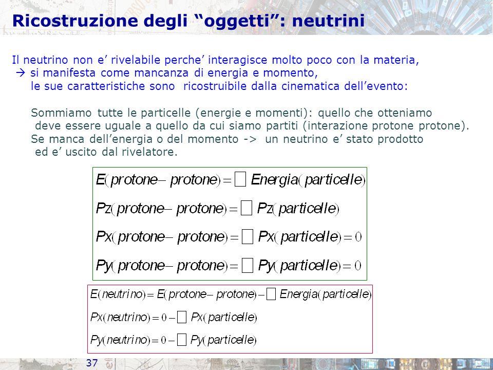 Ricostruzione degli oggetti : neutrini 37 Il neutrino non e' rivelabile perche' interagisce molto poco con la materia,  si manifesta come mancanza di energia e momento, le sue caratteristiche sono ricostruibile dalla cinematica dell'evento: Sommiamo tutte le particelle (energie e momenti): quello che otteniamo deve essere uguale a quello da cui siamo partiti (interazione protone protone).