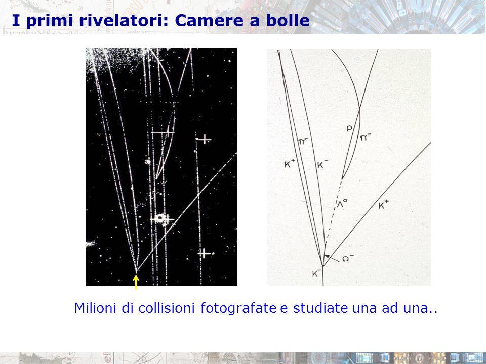 I primi rivelatori: Camere a bolle Milioni di collisioni fotografate e studiate una ad una..