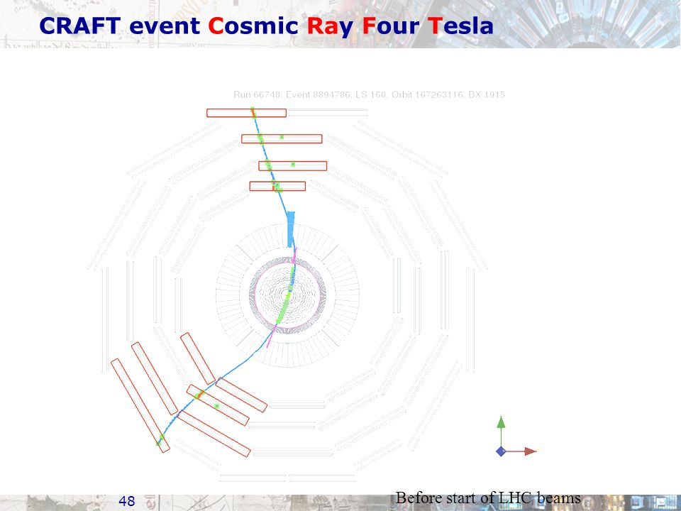 CRAFT event Cosmic Ray Four Tesla 48 Before start of LHC beams