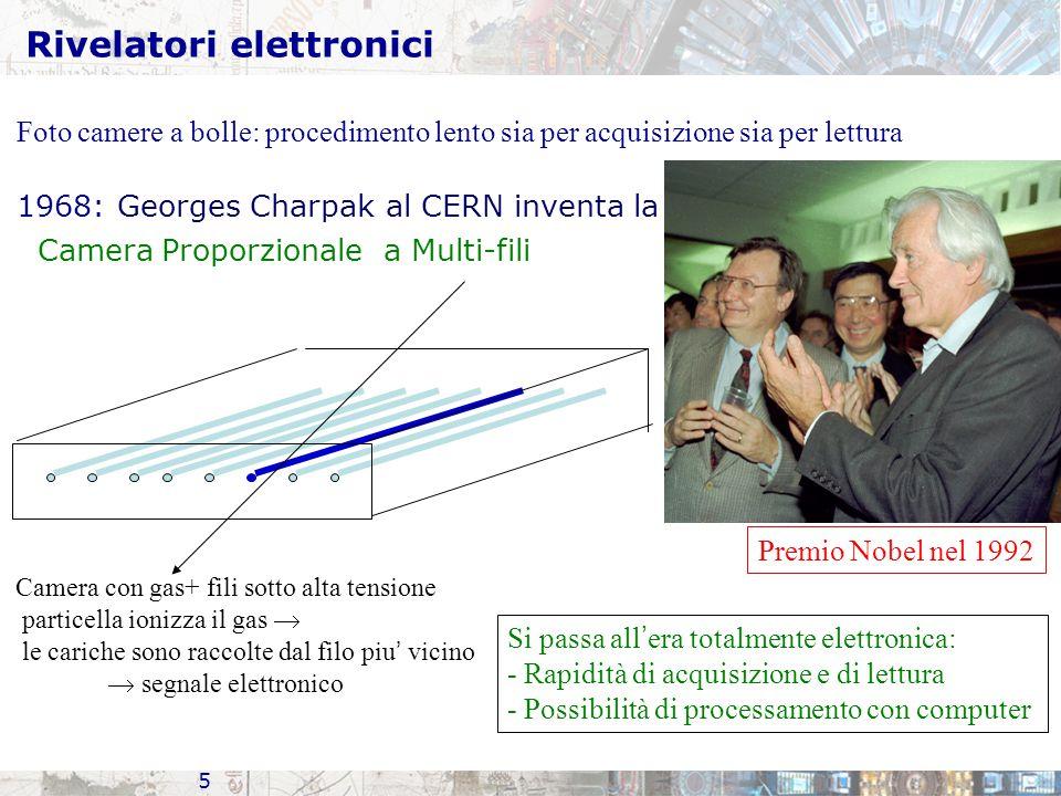 Rivelatori elettronici 5 Camera con gas+ fili sotto alta tensione particella ionizza il gas  le cariche sono raccolte dal filo piu ' vicino  segnale elettronico Foto camere a bolle: procedimento lento sia per acquisizione sia per lettura 1968: Georges Charpak al CERN inventa la Camera Proporzionale a Multi-fili Premio Nobel nel 1992 Si passa all ' era totalmente elettronica: - Rapidità di acquisizione e di lettura - Possibilità di processamento con computer