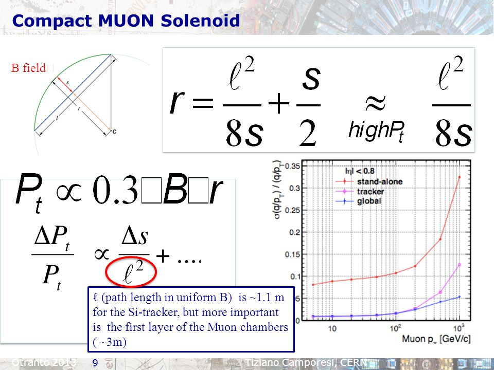 Compact MUON Solenoid Otranto 2013Tiziano Camporesi, CERN B field ☉ ℓ (path length in uniform B) is ~1.1 m for the Si-tracker, but more important is t