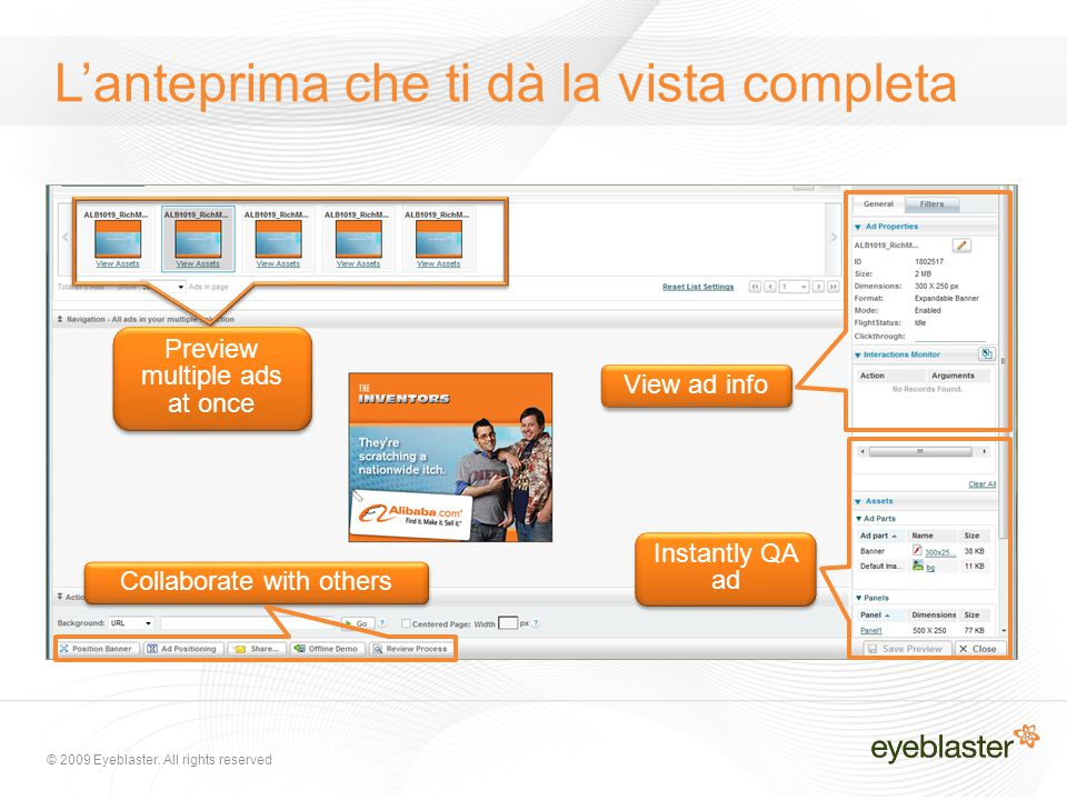 Preview multiple ads at once Instantly QA ad Collaborate with others L'anteprima che ti dà la vista completa View ad info