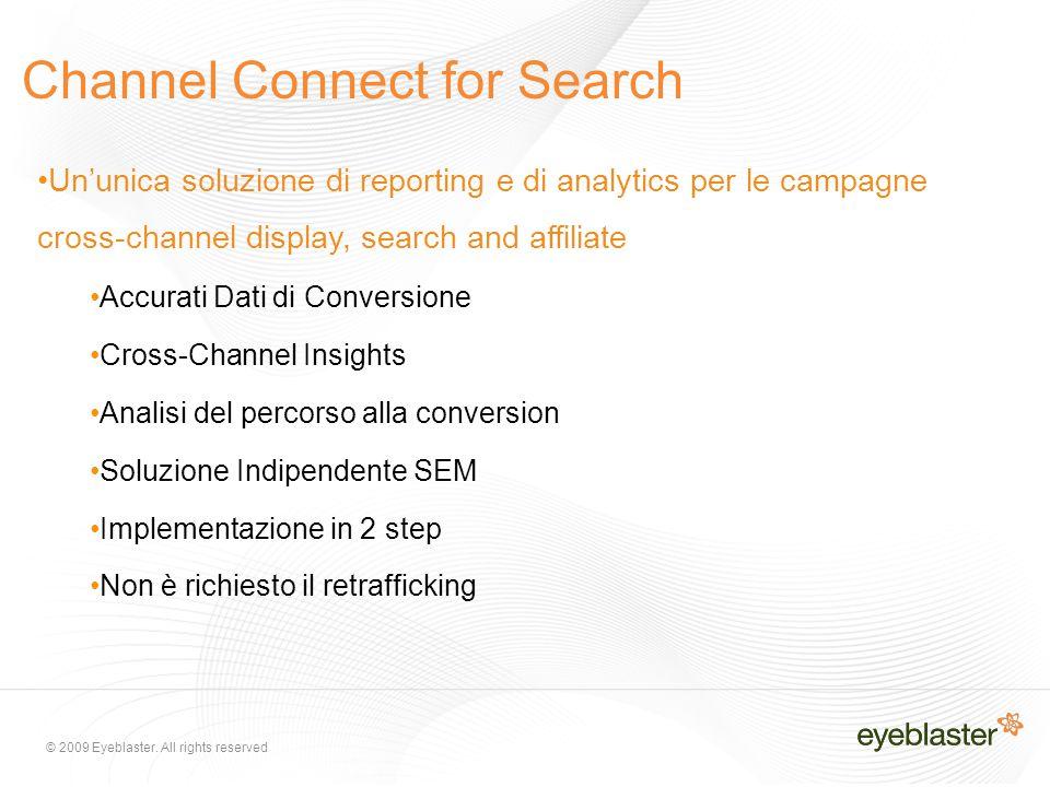 © 2009 Eyeblaster. All rights reserved Channel Connect for Search Un'unica soluzione di reporting e di analytics per le campagne cross-channel display