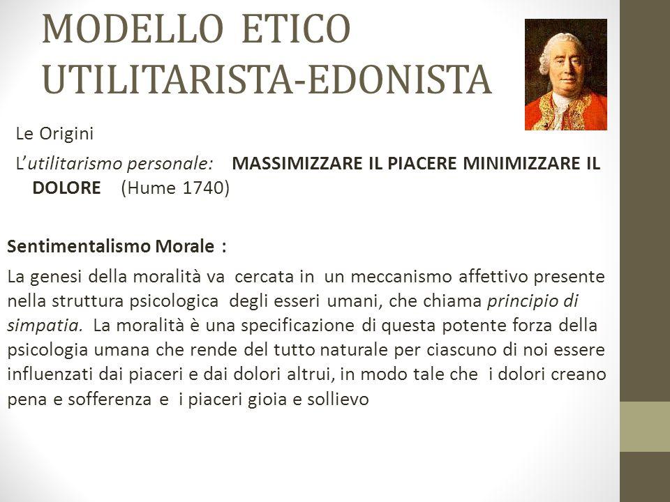 MODELLO ETICO UTILITARISTA-EDONISTA Le Origini L'utilitarismo personale: MASSIMIZZARE IL PIACERE MINIMIZZARE IL DOLORE (Hume 1740) Sentimentalismo Mor